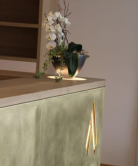 Antoniushof-Ruhstorf, Empfangs Design, Bar Detail, Lichtkonzept