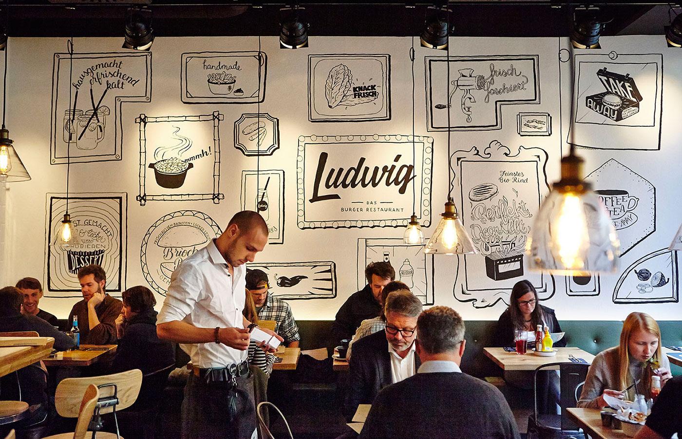 Einrichtung und Ausstattung von Restaurants, Wirtshäusern und Birstros - aus Österreich von ID-Werkstatt. Beispielbild Das Burgerrestaurant Ludwig in Wien